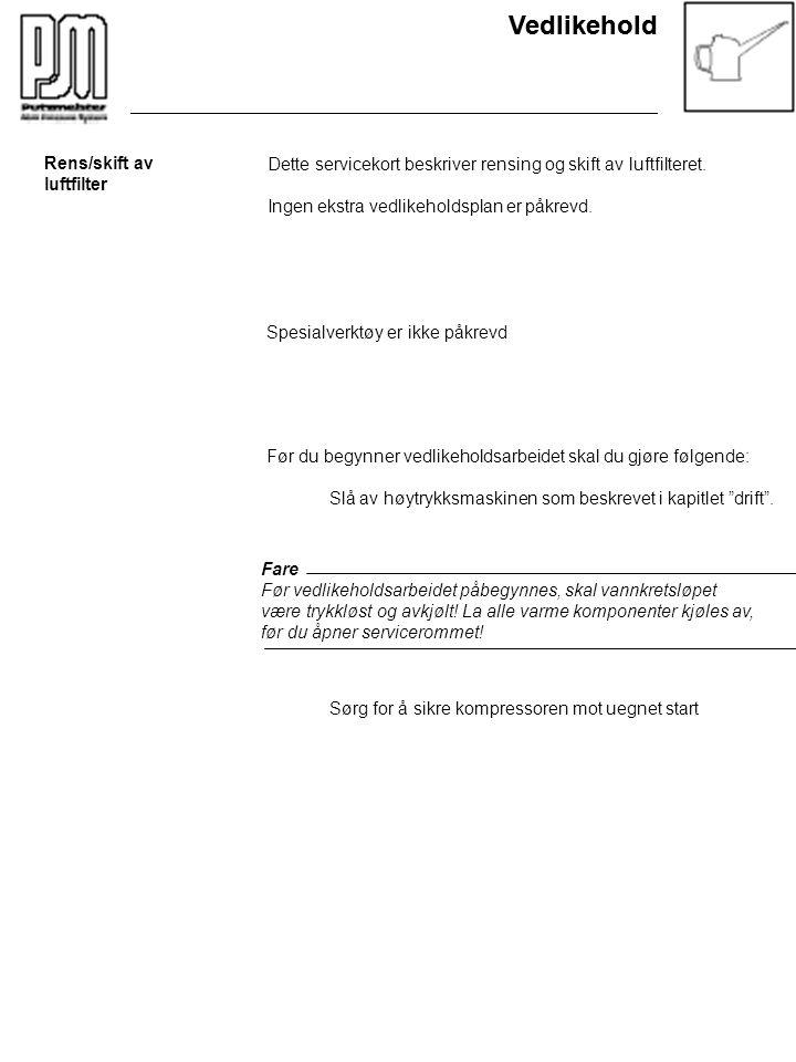 Vedlikehold Rens/skift av luftfilter Dette servicekort beskriver rensing og skift av luftfilteret. Ingen ekstra vedlikeholdsplan er påkrevd. Spesialve