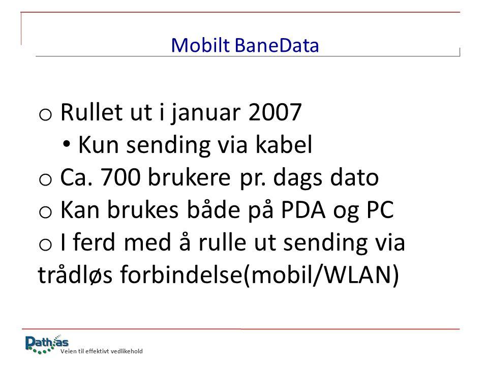 Veien til effektivt vedlikehold Mobilt BaneData o Utviklet i nært samarbeid med brukerne o Store avvik fra standard