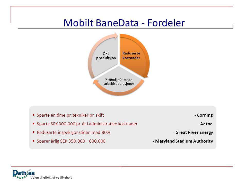 Veien til effektivt vedlikehold Mobilt BaneData - Fordeler Reduserte kostnader Strømlijeformede arbeidsoperasjoner Økt produksjon  Sparte en time pr.