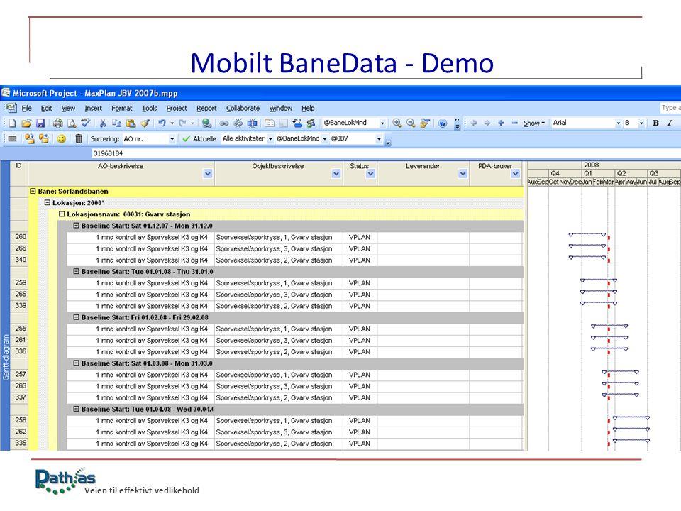 Veien til effektivt vedlikehold Mobilt BaneData – Muligheter fremover o Timeregistrering for Jernbaneverket • Ikke bare for de som driver med vedlikehold • Timelister på papir forsvinner • Enklere hverdag for brukerne • Besparelser