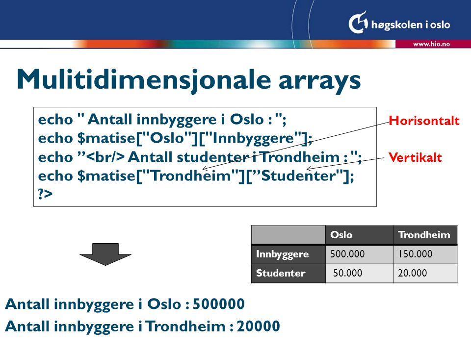 Mulitidimensjonale arrays echo