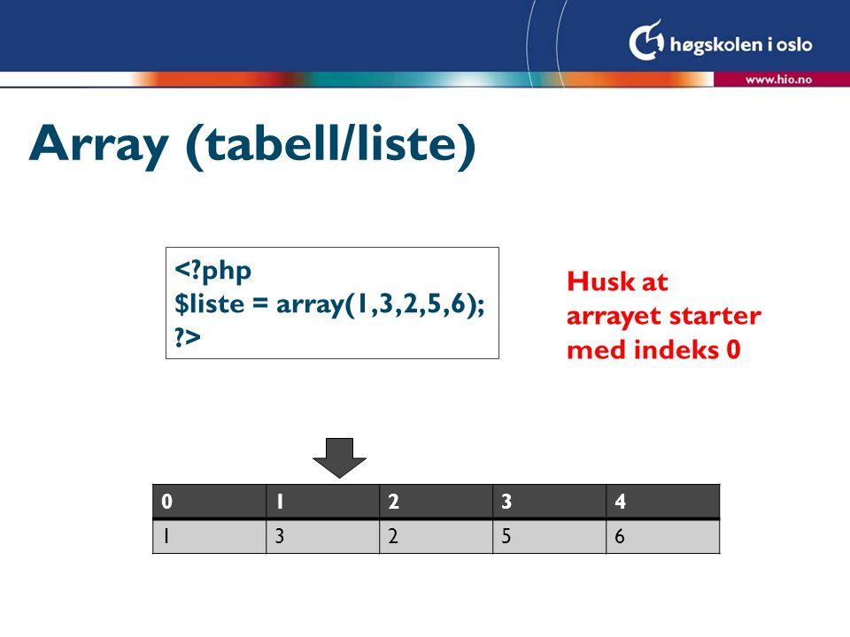 Array <?php $liste = array(1,3,2,5,6); echo $liste[1]. ; echo $liste[2]. ; echo $liste[3]. ; ?> 3 2 5 Husk at arrayet starter med indeks 0 01234 13256 Husk firkant- parenteser