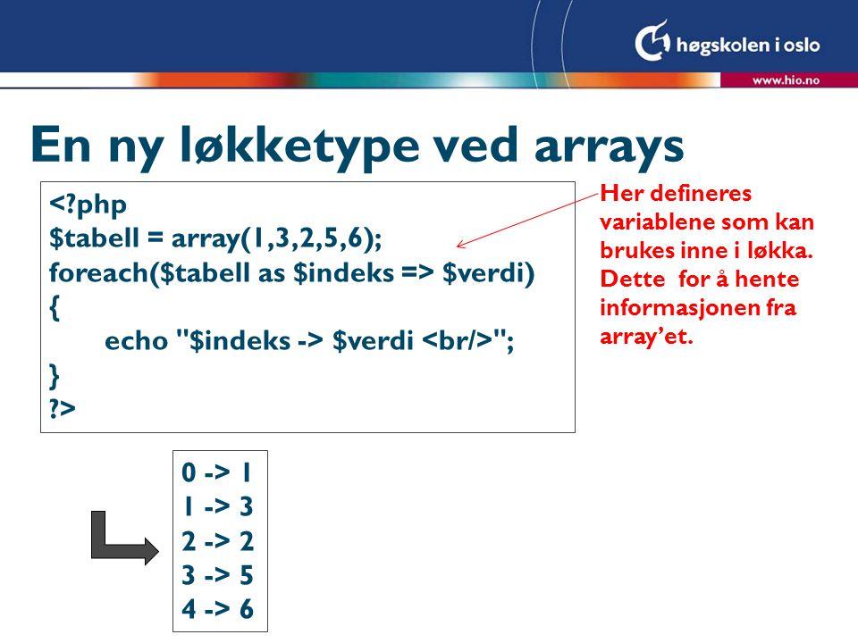 En ny løkketype ved arrays <?php $tabell = array(1,3,2,5,6); foreach($tabell as $indeks => $verdi) { echo