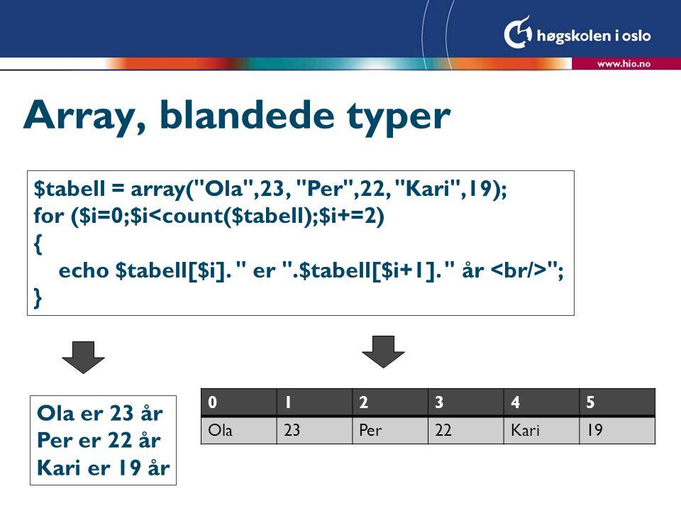 Array, blandede typer $tabell = array(