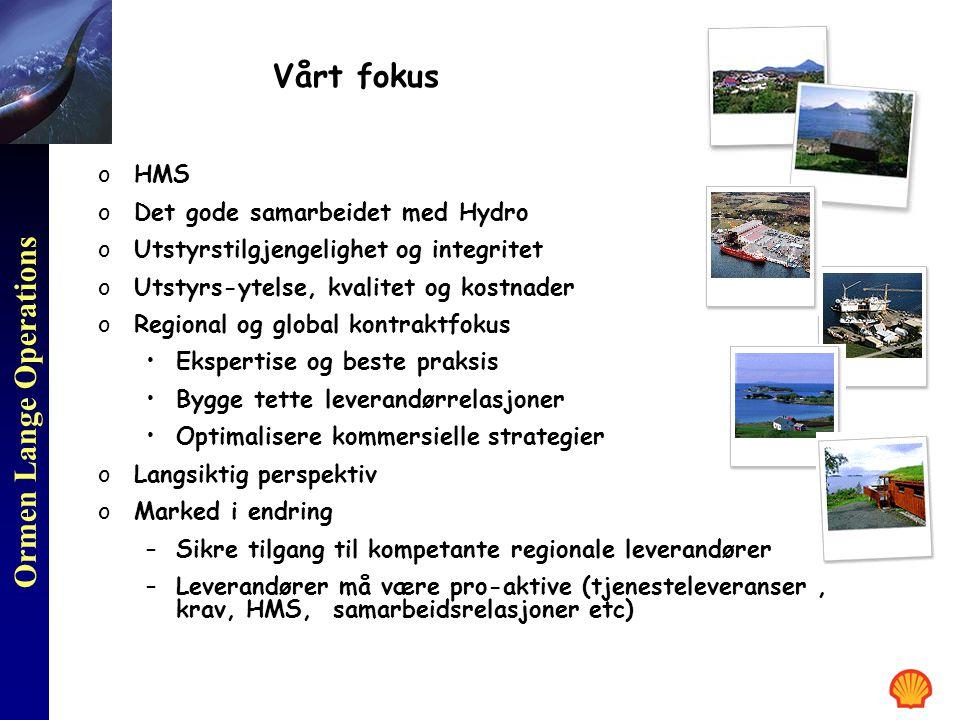 Ormen Lange Operations Vårt fokus oHMS oDet gode samarbeidet med Hydro oUtstyrstilgjengelighet og integritet oUtstyrs-ytelse, kvalitet og kostnader oR
