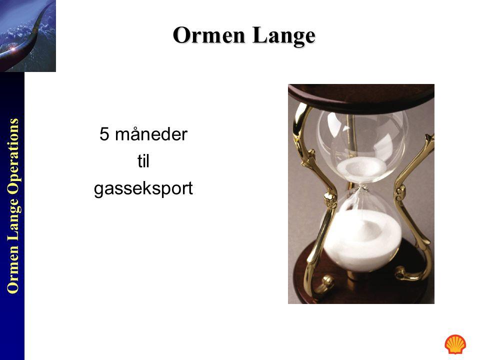 Ormen Lange Operations Ormen Lange 5 måneder til gasseksport