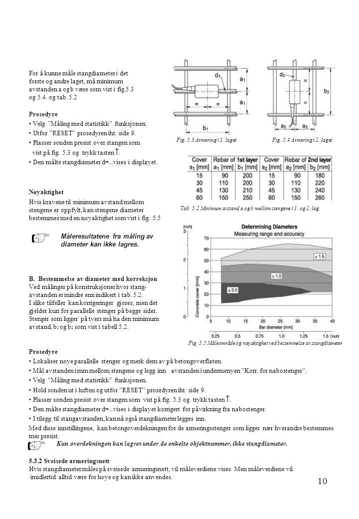 10 For å kunne måle stangdiameter i det første og andre laget, må minimum avstanden a og b være som vist i fig.5.3 og 5.4. og tab. 5.2 Prosedyre • Vel