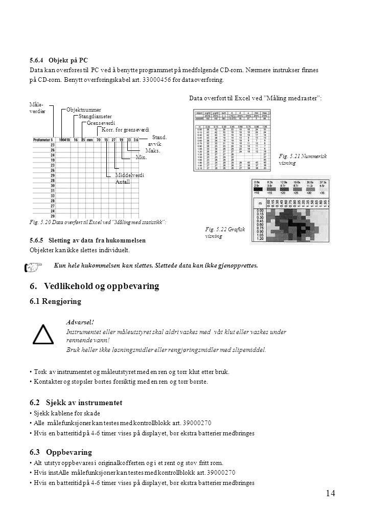 14 5.6.4 Objekt på PC Data kan overføres til PC ved å benytte programmet på medfølgende CD-rom. Nærmere instrukser finnes på CD-rom. Benytt overføring