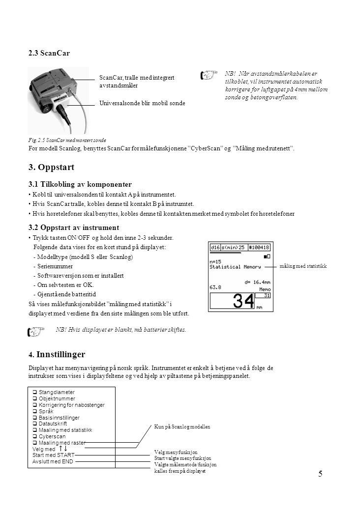 5 2.3 ScanCar Fig.2.5 ScanCar med montert sonde ScanCar, tralle med integrert avstandsmåler Universalsonde blir mobil sonde For modell Scanlog, benytt