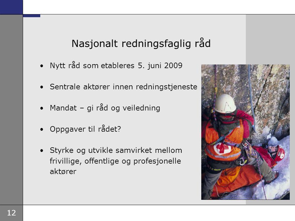 12 Nasjonalt redningsfaglig råd •Nytt råd som etableres 5. juni 2009 •Sentrale aktører innen redningstjeneste •Mandat – gi råd og veiledning •Oppgaver