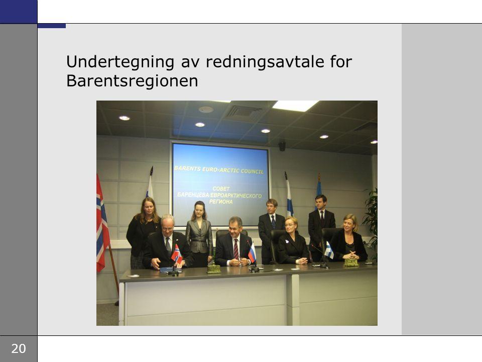 20 Undertegning av redningsavtale for Barentsregionen