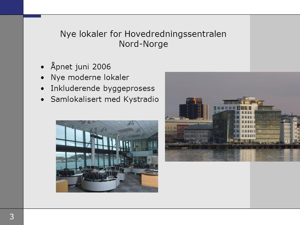3 Nye lokaler for Hovedredningssentralen Nord-Norge •Åpnet juni 2006 •Nye moderne lokaler •Inkluderende byggeprosess •Samlokalisert med Kystradio