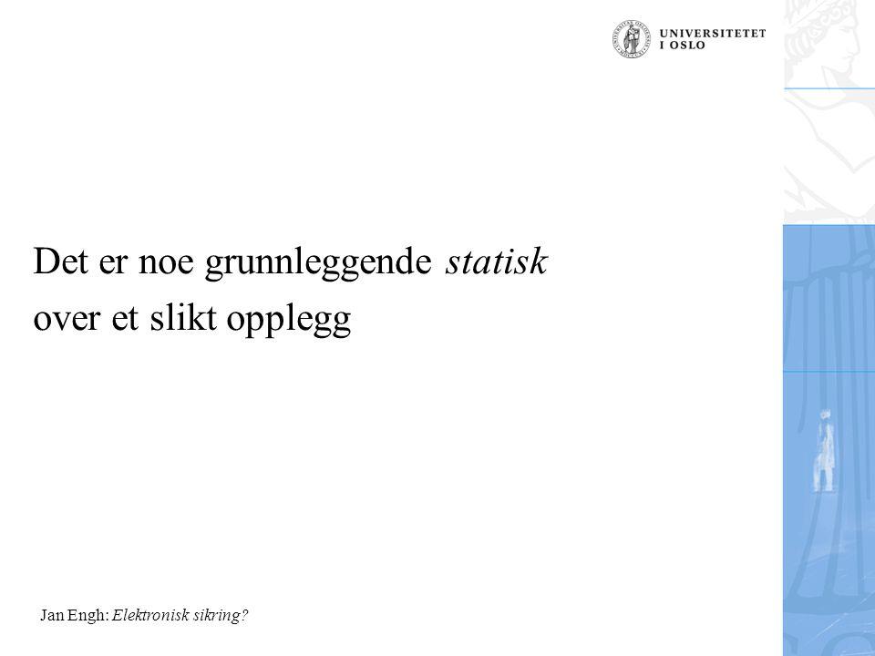 Jan Engh: Elektronisk sikring? Det er noe grunnleggende statisk over et slikt opplegg