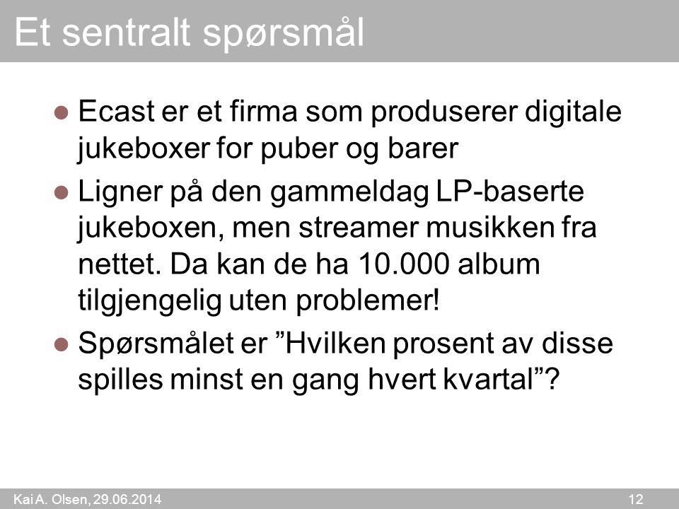 Kai A. Olsen, 29.06.2014 12 Et sentralt spørsmål  Ecast er et firma som produserer digitale jukeboxer for puber og barer  Ligner på den gammeldag LP