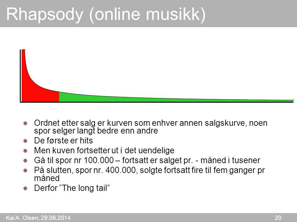 Kai A. Olsen, 29.06.2014 20 Rhapsody (online musikk)  Ordnet etter salg er kurven som enhver annen salgskurve, noen spor selger langt bedre enn andre
