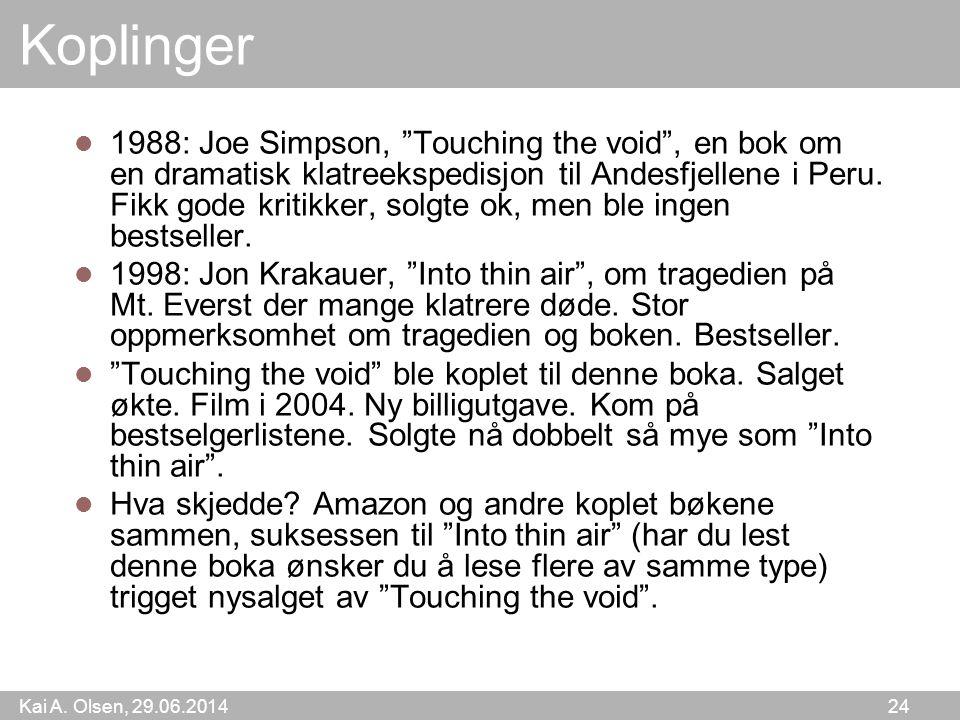 """Kai A. Olsen, 29.06.2014 24 Koplinger  1988: Joe Simpson, """"Touching the void"""", en bok om en dramatisk klatreekspedisjon til Andesfjellene i Peru. Fik"""