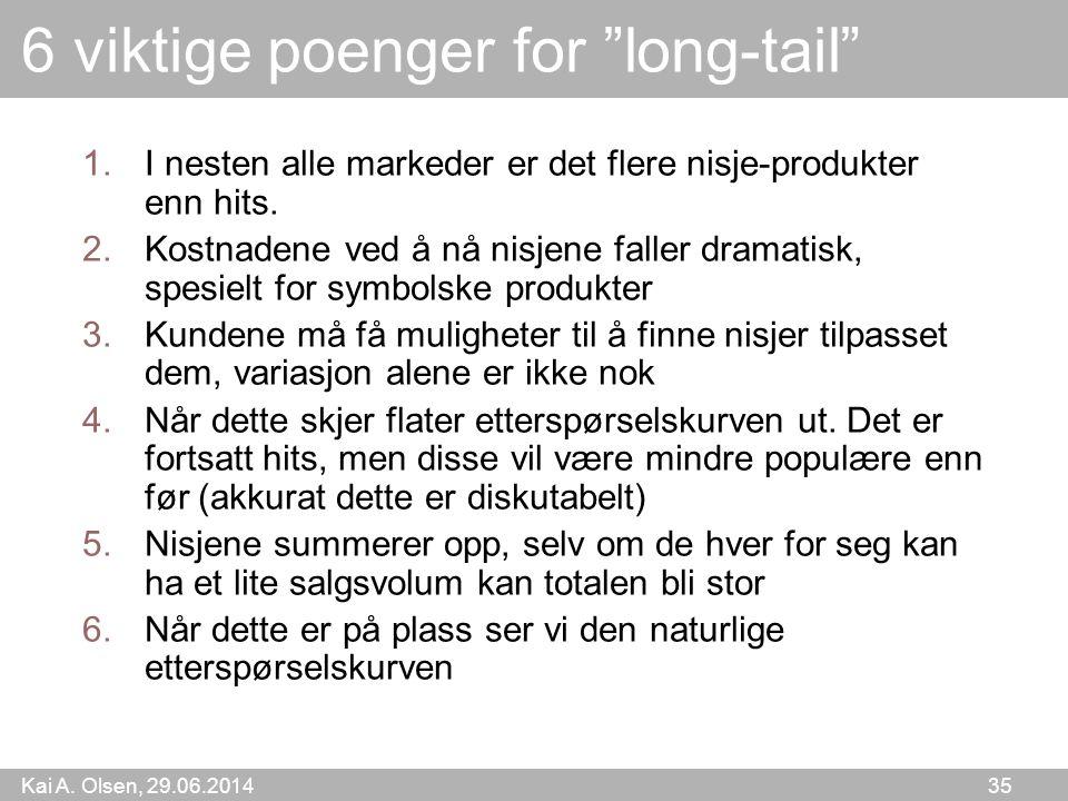 """Kai A. Olsen, 29.06.2014 35 6 viktige poenger for """"long-tail"""" 1.I nesten alle markeder er det flere nisje-produkter enn hits. 2.Kostnadene ved å nå ni"""