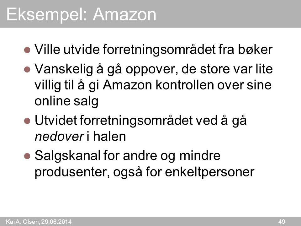 Kai A. Olsen, 29.06.2014 49 Eksempel: Amazon  Ville utvide forretningsområdet fra bøker  Vanskelig å gå oppover, de store var lite villig til å gi A