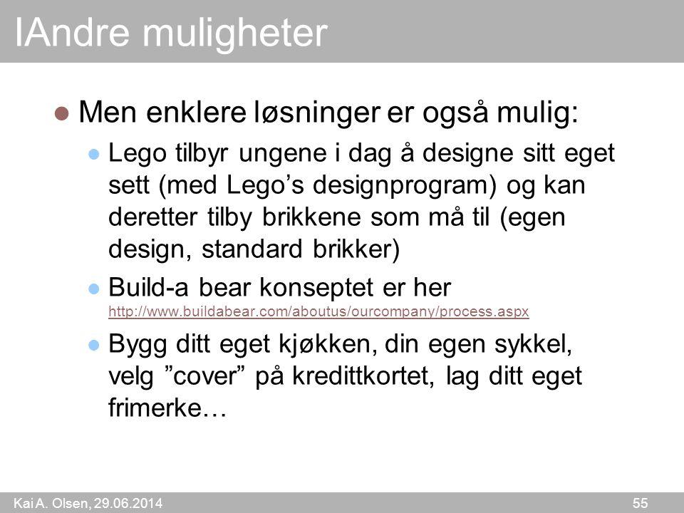 Kai A. Olsen, 29.06.2014 55 IAndre muligheter  Men enklere løsninger er også mulig:  Lego tilbyr ungene i dag å designe sitt eget sett (med Lego's d