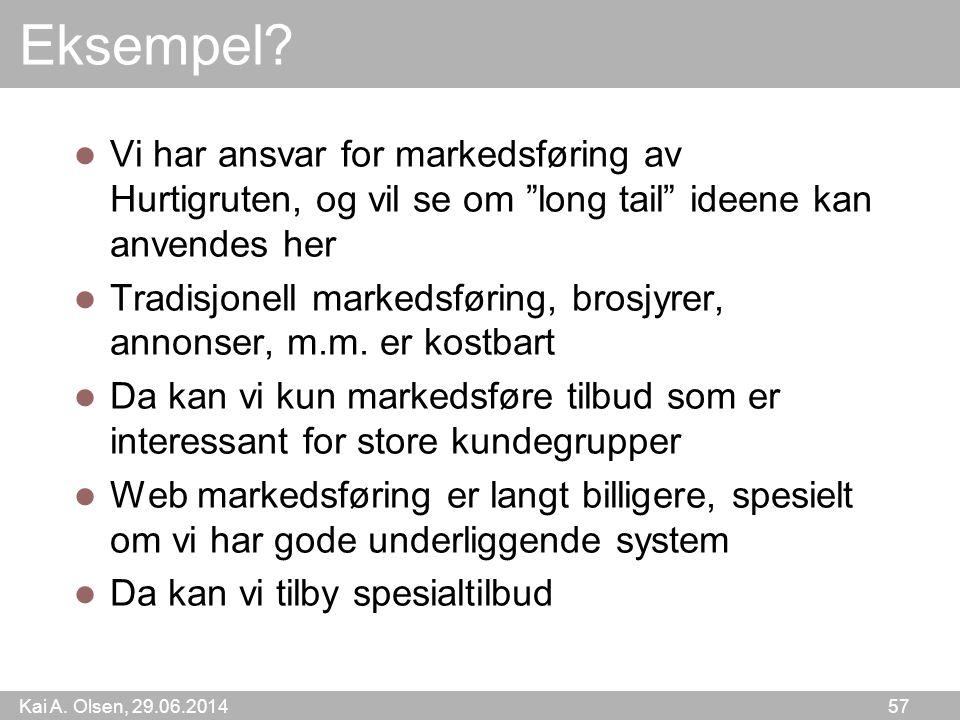 """Kai A. Olsen, 29.06.2014 57 Eksempel?  Vi har ansvar for markedsføring av Hurtigruten, og vil se om """"long tail"""" ideene kan anvendes her  Tradisjonel"""