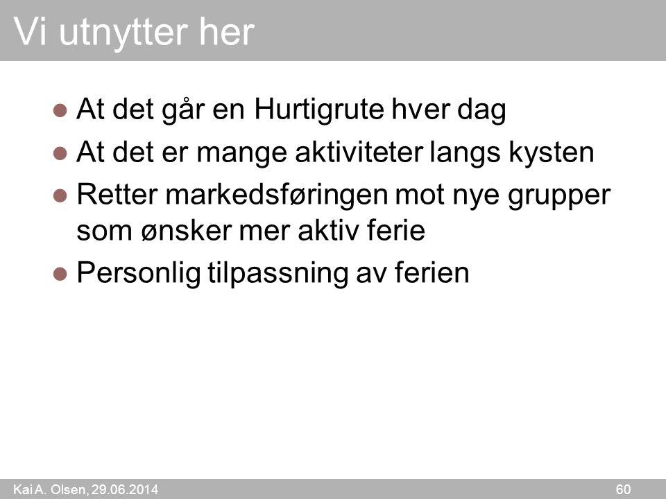 Kai A. Olsen, 29.06.2014 60 Vi utnytter her  At det går en Hurtigrute hver dag  At det er mange aktiviteter langs kysten  Retter markedsføringen mo