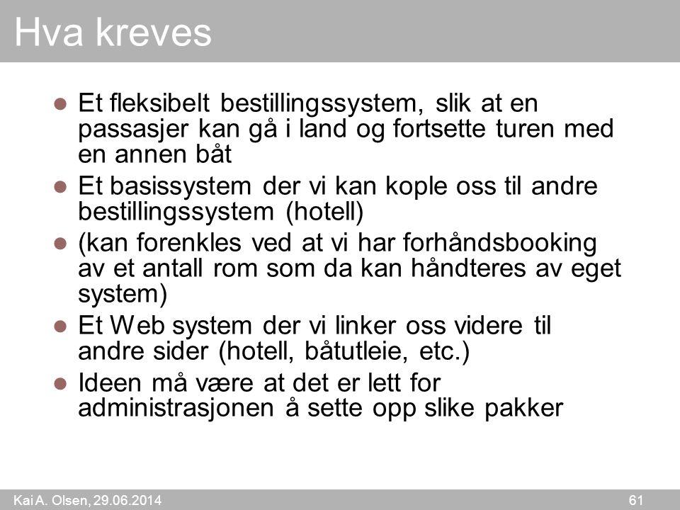 Kai A. Olsen, 29.06.2014 61 Hva kreves  Et fleksibelt bestillingssystem, slik at en passasjer kan gå i land og fortsette turen med en annen båt  Et