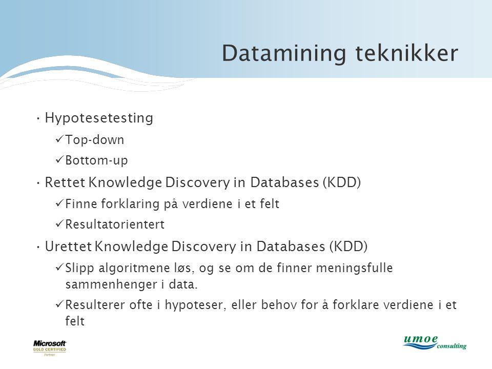 Datamining teknikker •Hypotesetesting  Top-down  Bottom-up •Rettet Knowledge Discovery in Databases (KDD)  Finne forklaring på verdiene i et felt 