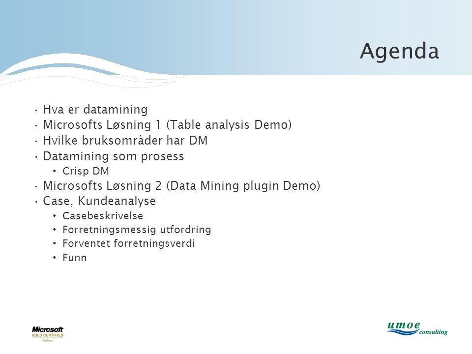 Agenda •Hva er datamining •Microsofts Løsning 1 (Table analysis Demo) •Hvilke bruksområder har DM •Datamining som prosess • Crisp DM •Microsofts Løsni