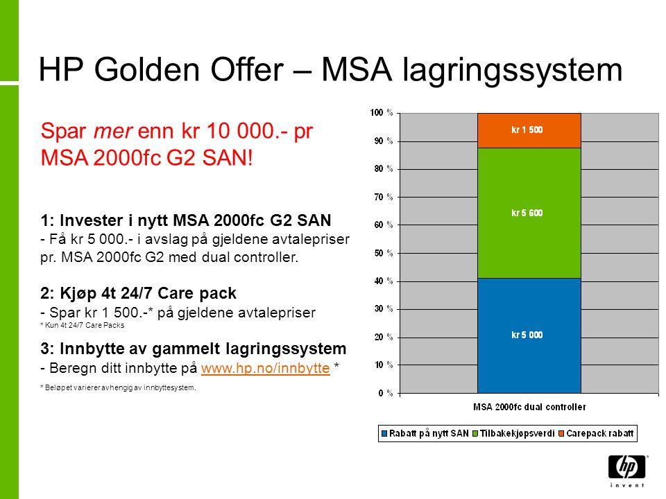 HP Golden Offer – MSA lagringssystem Spar mer enn kr 10 000.- pr MSA 2000fc G2 SAN! 1: Invester i nytt MSA 2000fc G2 SAN - Få kr 5 000.- i avslag på g