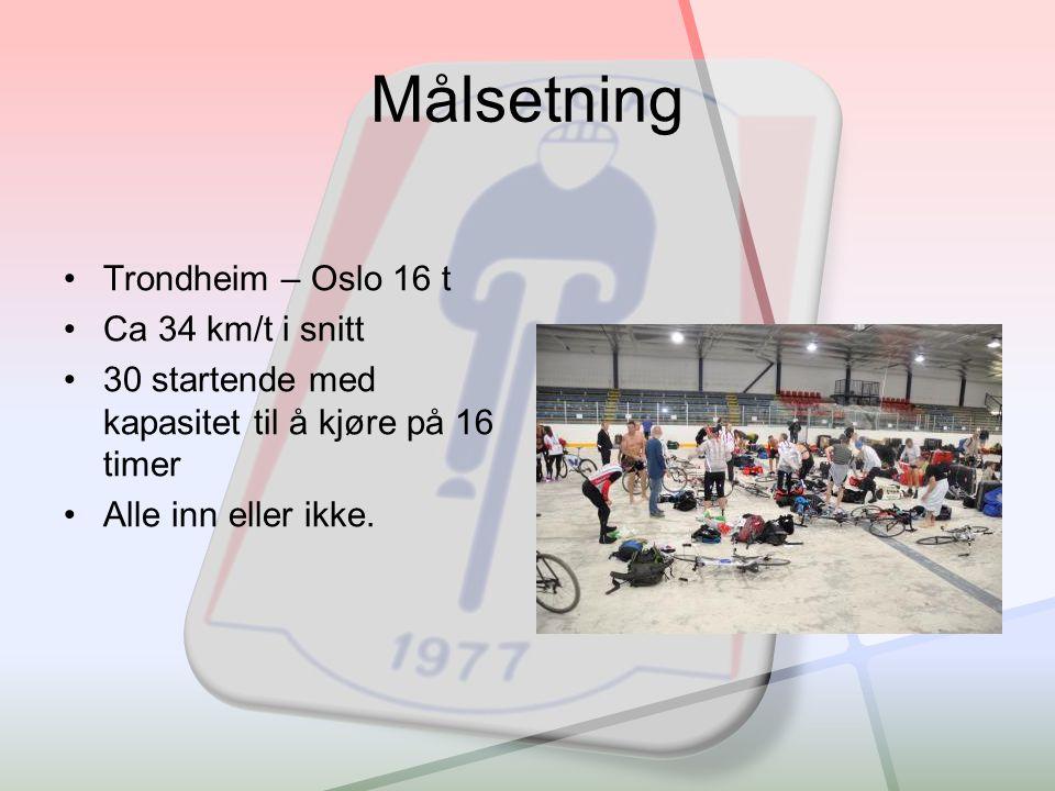 Målsetning •Trondheim – Oslo 16 t •Ca 34 km/t i snitt •30 startende med kapasitet til å kjøre på 16 timer •Alle inn eller ikke.
