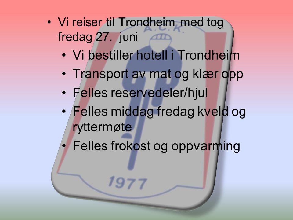 •Vi reiser til Trondheim med tog fredag 27.