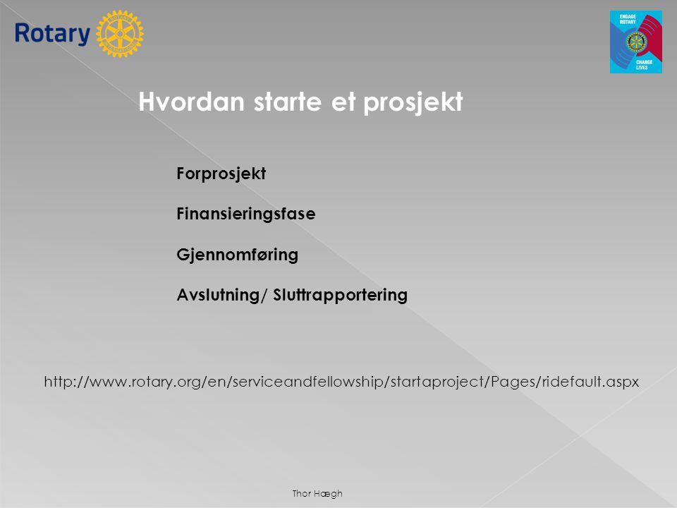 • Motivering • Positive majoritetsbeslutning i klubben • Innhenting av informasjon om mulige prosjekter • Utvelgelse av prosjekt (type, sted, varighet kostnad) • Kontakt evt.