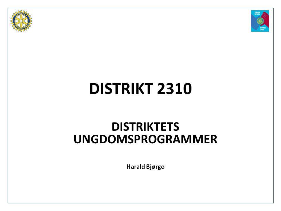 DISTRIKT 2310 DISTRIKTETS UNGDOMSPROGRAMMER Harald Bjørgo