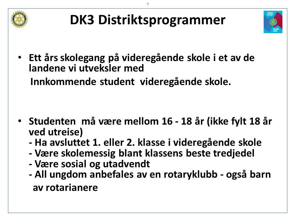 DK3 Distriktsprogrammer 7 • Ett års skolegang på videregående skole i et av de landene vi utveksler med Innkommende student videregående skole. • Stud
