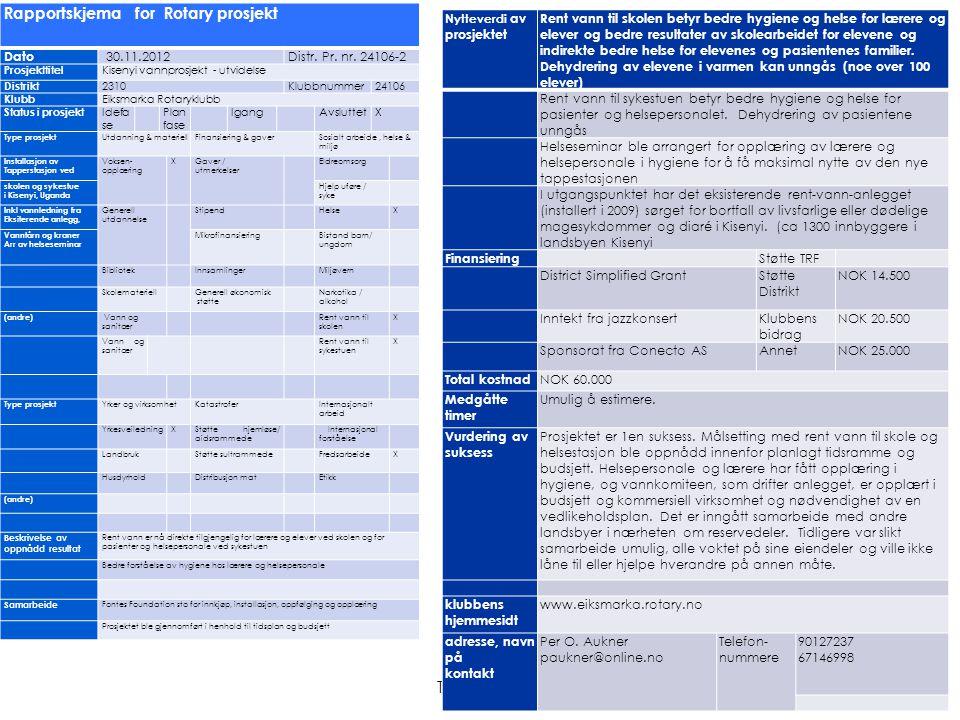 Thor Hægh Rapportskjema for Rotary prosjekt Dato 30.11.2012Distr. Pr. nr. 24106-2 Prosjekttitel Kisenyi vannprosjekt - utvidelse Distrikt 2310Klubbnum