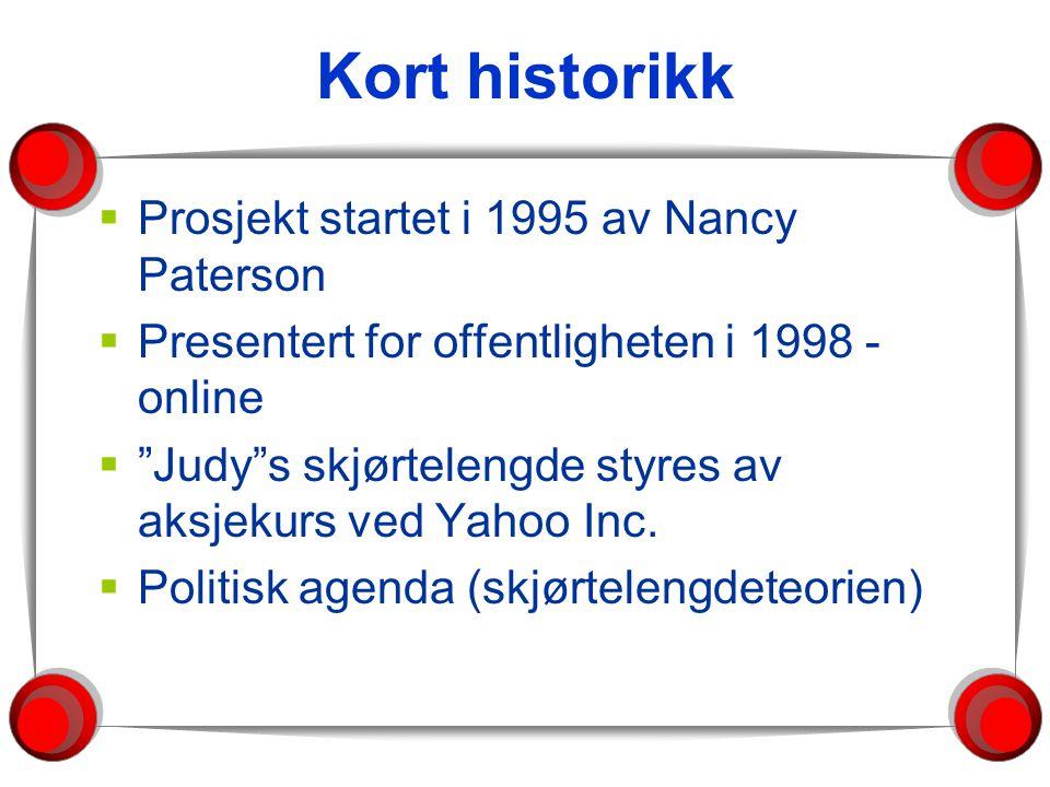 Kort historikk  Prosjekt startet i 1995 av Nancy Paterson  Presentert for offentligheten i 1998 - online  Judy s skjørtelengde styres av aksjekurs ved Yahoo Inc.