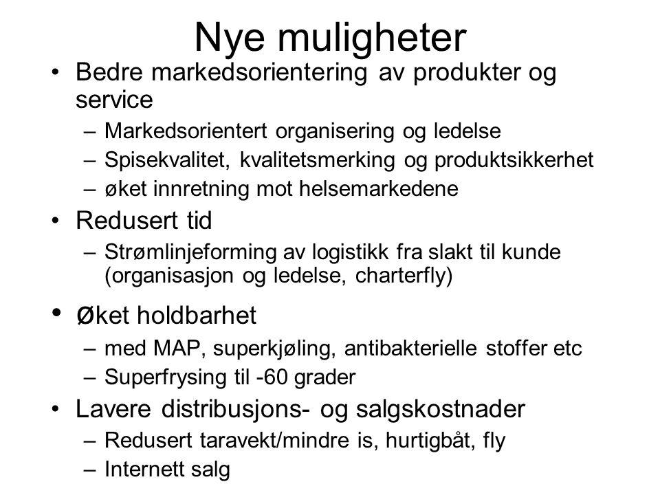 Nye muligheter •Bedre markedsorientering av produkter og service –Markedsorientert organisering og ledelse –Spisekvalitet, kvalitetsmerking og produkt
