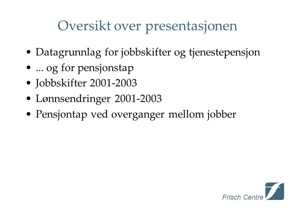 Frisch Centre Oversikt over presentasjonen •Datagrunnlag for jobbskifter og tjenestepensjon •...