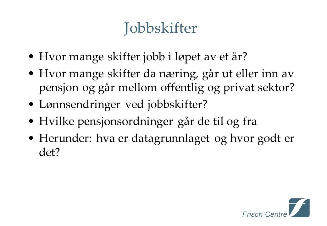 Frisch Centre Jobbskifter •Hvor mange skifter jobb i løpet av et år.