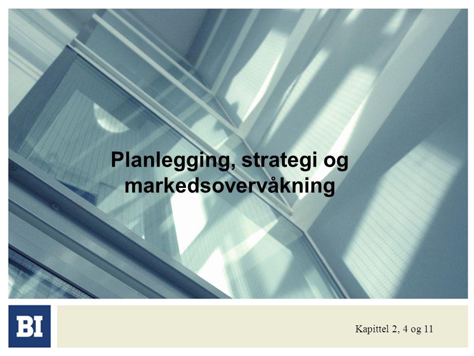 Dagens tekst: • Strategi på overordnet nivå • Strategi på forretningsenhetsnivå • Ekstern- og internanalyse • Produktporteføljebeslutninger • Ulike generiske strategier • Markedsundersøkelsesprosessen