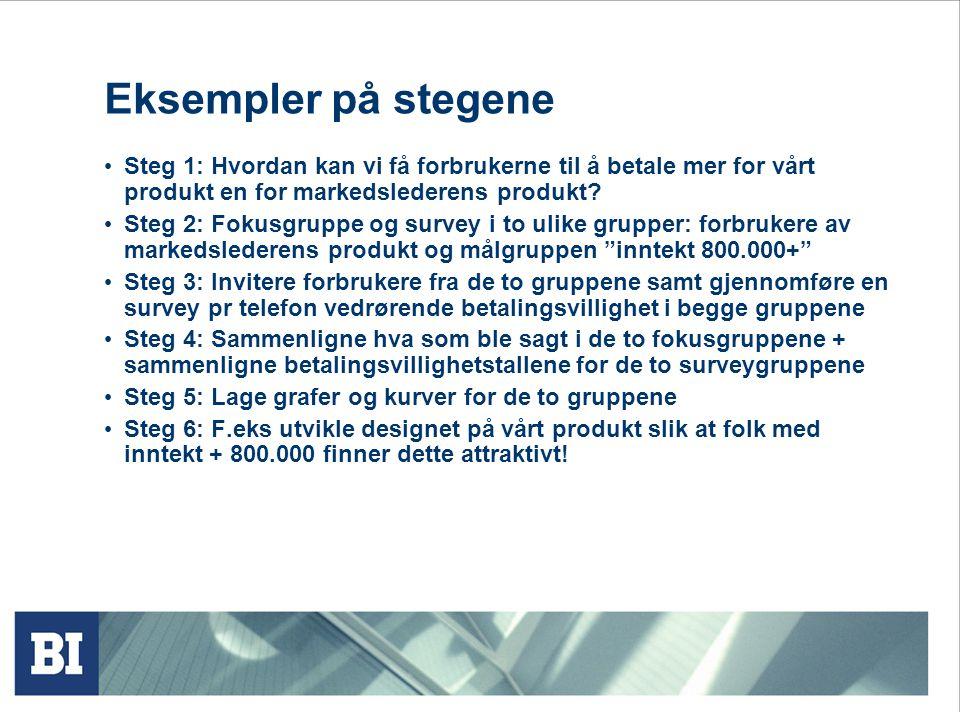 Eksempler på stegene • Steg 1: Hvordan kan vi få forbrukerne til å betale mer for vårt produkt en for markedslederens produkt.