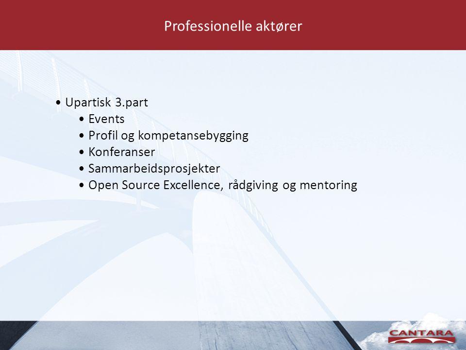 Professionelle aktører • Upartisk 3.part • Events • Profil og kompetansebygging • Konferanser • Sammarbeidsprosjekter • Open Source Excellence, rådgiving og mentoring