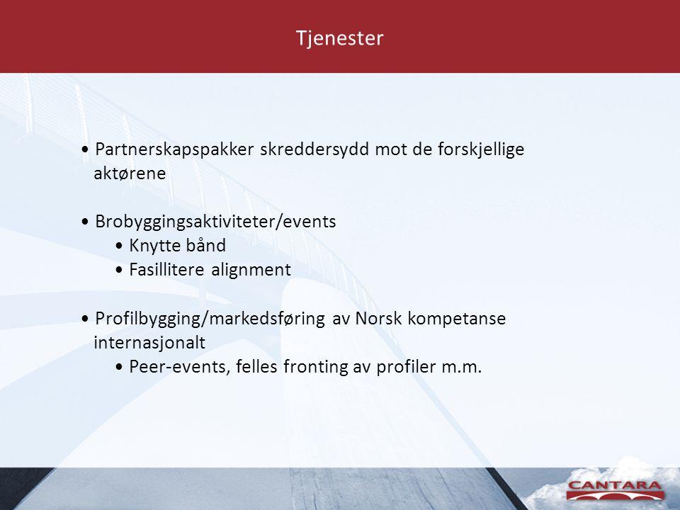 Tjenester • Partnerskapspakker skreddersydd mot de forskjellige aktørene • Brobyggingsaktiviteter/events • Knytte bånd • Fasillitere alignment • Profilbygging/markedsføring av Norsk kompetanse internasjonalt • Peer-events, felles fronting av profiler m.m.