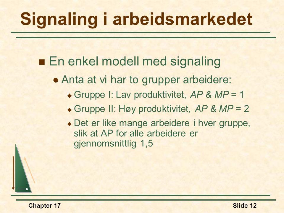 Chapter 17Slide 11 Signaling  Med signaling forstår vi hvordan selgere gir kjøpere signaler om kvaliteten på produktet i markeder med asymmetrisk inf