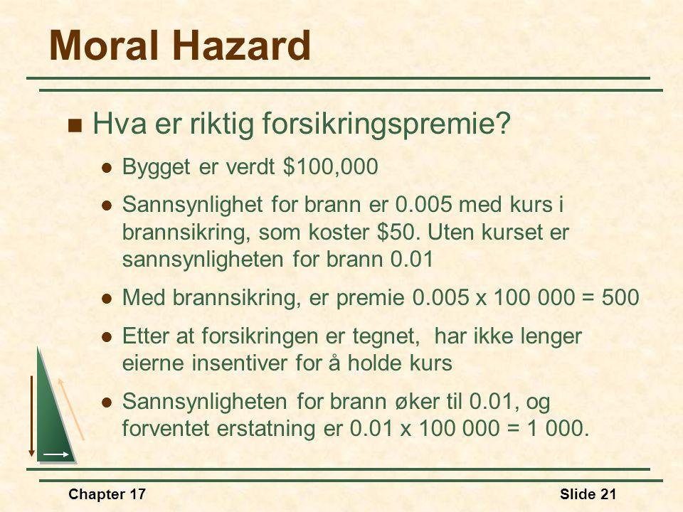 Chapter 17Slide 20 Moral Hazard  Moral hazard (moralsk hasard) oppstår når atferd påvirkes av det faktum at man er forsikret  Kjører mer uvørent når