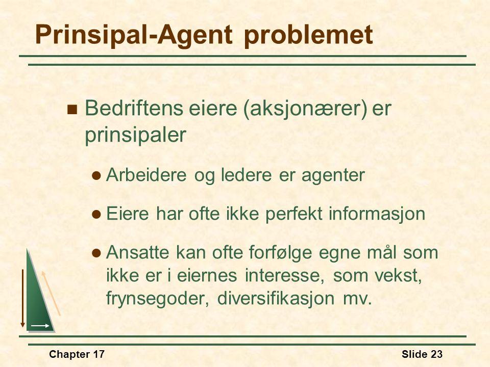 Chapter 17Slide 22 Prinsipal-Agent problemet  Agentforhold  En persons velferd avhenger av hva en annen person gjør  Agent  Personen som utfører h