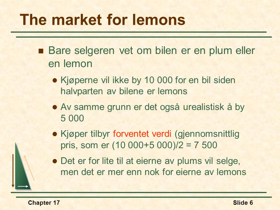 "Chapter 17Slide 5 The market for lemons  Anta at en bruktbil enten er god eller dårlig  I amerikansk terminologi er en god bruktbil en ""plum"" og en"