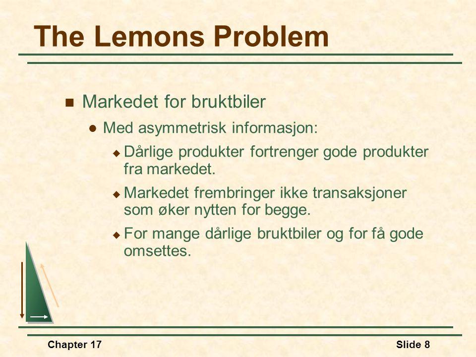 The Lemons Problem PHPH PLPL QHQH QLQL SHSH SLSL DHDH DLDL 5,000 50,000 Markedet for biler med høy og lav kvalitet når både kjøper og selger kjenner p