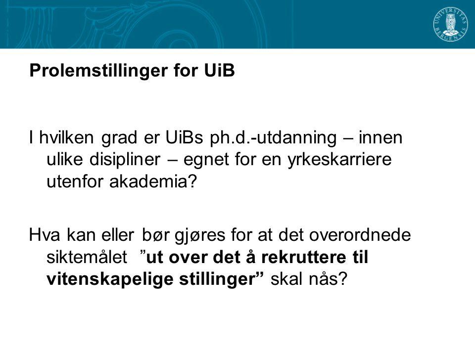 Prolemstillinger for UiB I hvilken grad er UiBs ph.d.-utdanning – innen ulike disipliner – egnet for en yrkeskarriere utenfor akademia? Hva kan eller