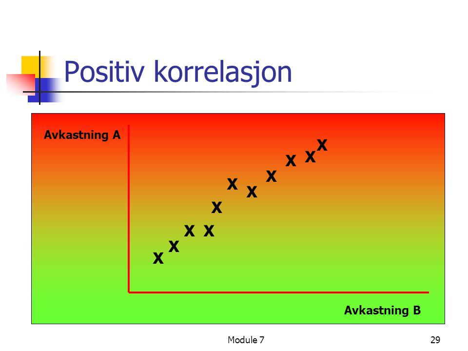 Module 729 Positiv korrelasjon Avkastning A Avkastning B X X X X X X X X X X X